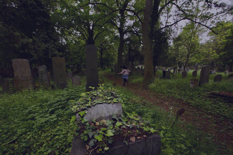 brocarde running through graveyard